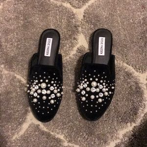 Steve Madden suede jeweled slide loafers